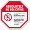 Absolutely No Soliciting Sign