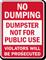 Dumpster Not For Public No Dumping Sign