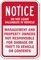 Management Not Responsible For Damage Notice Sign