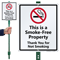 Smoke Free Property with Graphic Sign