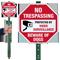 No Trespassing Beware Of Dogs LawnBoss Sign