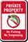 Private Property No Tresspassing No Fishing Sign