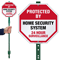 Protected By Home Security System LawnBoss Sign