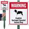 Warning English Springer Spaniel LawnBoss Sign