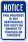 This Property Not Responsible For Theft Or Damage Sign