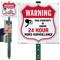 Warning 24 Hour Video Surveillance LawnBoss Sign