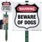 Warning Beware Of Dogs LawnBoss Sign