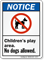 Children's Play Area No Dogs Allowed Sign
