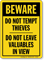 Do Not Tempt Thieves Sign