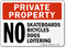 Private Property No Skateboards Bicycles Dogs Loitering
