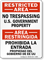 Bilingual Restricted, No Trespassing U.S. Government Property Sign