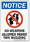 No Weapons Allowed Inside This Building Sign