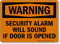 Warning Security Alarm Sound Opened Sign